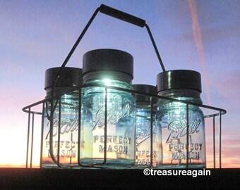 Dairy Basket Garden Lights Ball Solar Jars in Antique Milk Carrier Wire Caddy 4 Blue Pint Mason Jar Solar Lights Vintage Wire Basket