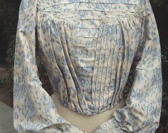 Original Restored Victorian Bodice Warp Printed Silk Venice Lace Trim  Size 8 Item #122  Victorians