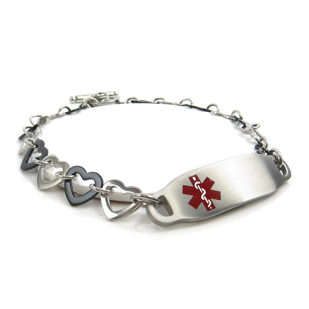 custom engraved free medical id bracelet black amp silver