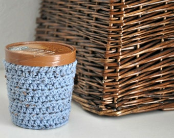 Rustic Blue Ice Cream Cozy Crocheted Holder Pint Size Eco Friendly Reusable Cover Get Well Gift Friend Gift Easy Hold - Stocking Stuffer
