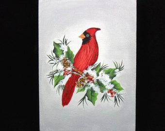 """Red Cardinal Canvas Painting Original Acrylic 5"""" x 7"""" Hand Painted Unframed"""