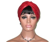 Red Turban, Leather Turban, Red Leather Turban, Solid Red Turban, Red Turbin, Women's Handmade Fashion, Red Twist Turban, Hat, Custom Order