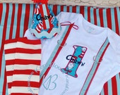 1st Birthday Set, Dr. Seuss, Cat in the Hat, Embroidered Bandana Bib, ONE Banner, Birthday Hat, Diaper Cover