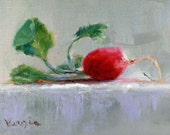 Fine Art Canvas Painting - Oil Painting Still Life with Radish - Original Painting Canvas Art by Carrie Venezia - Red, Gray, Green
