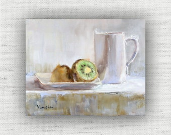 Kiwi with Cup - Art Print of Painting - Large Wall Art Print on Wood Block