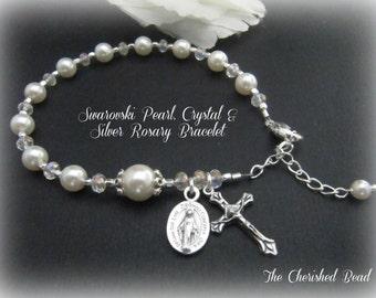 Beautiful Catholic Swarovski Pearl, Crystal & Silver Rosary Bracelet