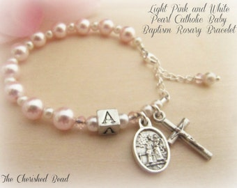Baptism Light Pink & White Pearl Personalized Rosary Bracelet with Guardian Angel