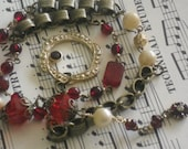 upcycled garnet pearl assemblage lariat-romantic-red-ooak-boho chic
