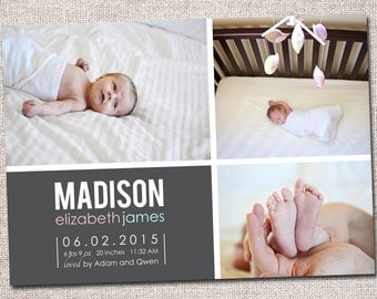 Birth announcement, baby boy announcement, baby girl announcement, baby announcement, modern birth announcement, printable (3 Photo)