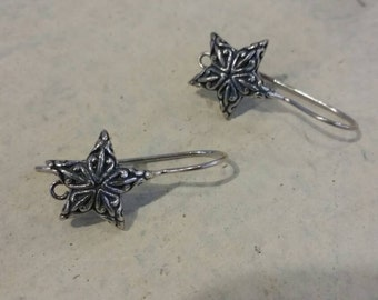 Star Adorned EarWires Silver plated