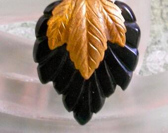 1930's Gold Leaf Dress Clip