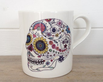 Day Of The Dead Skull Ceramic Mug