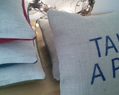 Reserved for Gillian - LOVE hand printed cushion.
