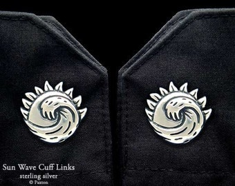 Sun Wave Cuff Links Sterling Silver