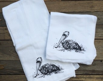 Pelican  screen printed dish towel on 100% cotton