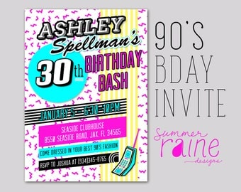 90's Invitation - Printable/Digital - Birthday, party,