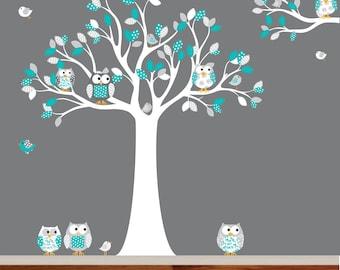 Nursery Wall Decal Vinyl Wall Decal blue chevron pattern Owl Tree Set Nursery Boy Baby