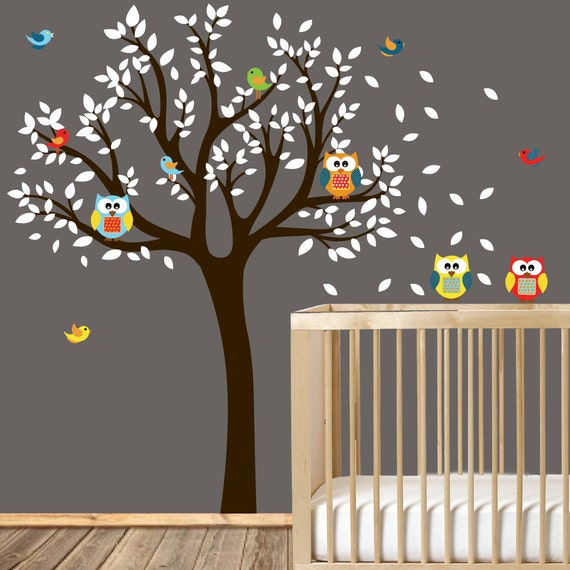 Tree decals for nursery - Owl Nursery Tree - Tree Decals with owls and birds - Modern decals - baby nursery