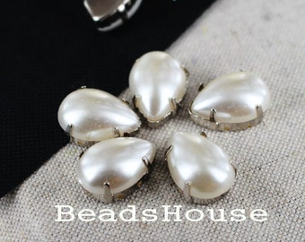 10pcs Antique Silver Plated Water Pearl Drop Attachable Metal Wrap Pendants,Nickel Free