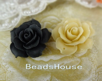 20% off: 657-00-CA  2pcs Pretty Large Rose Cabochon with Hole, 34mm - Black