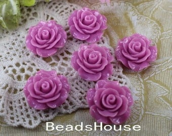 696-00-CA  6pcs (20mm) Beautiful Roses Cabochon- Lilac