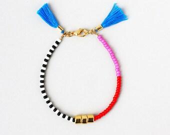 Friendship Bracelet, Bracelet with Tassel, Color block Bracelet, Layering Bracelet, Gold Gem Bracelet