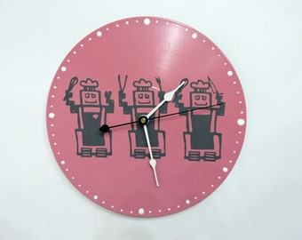 Robot Chef Wall Clock Pink Olyteam