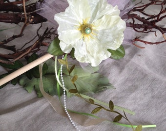 Magical Cream Colored Poppy Flower Fairy Wand