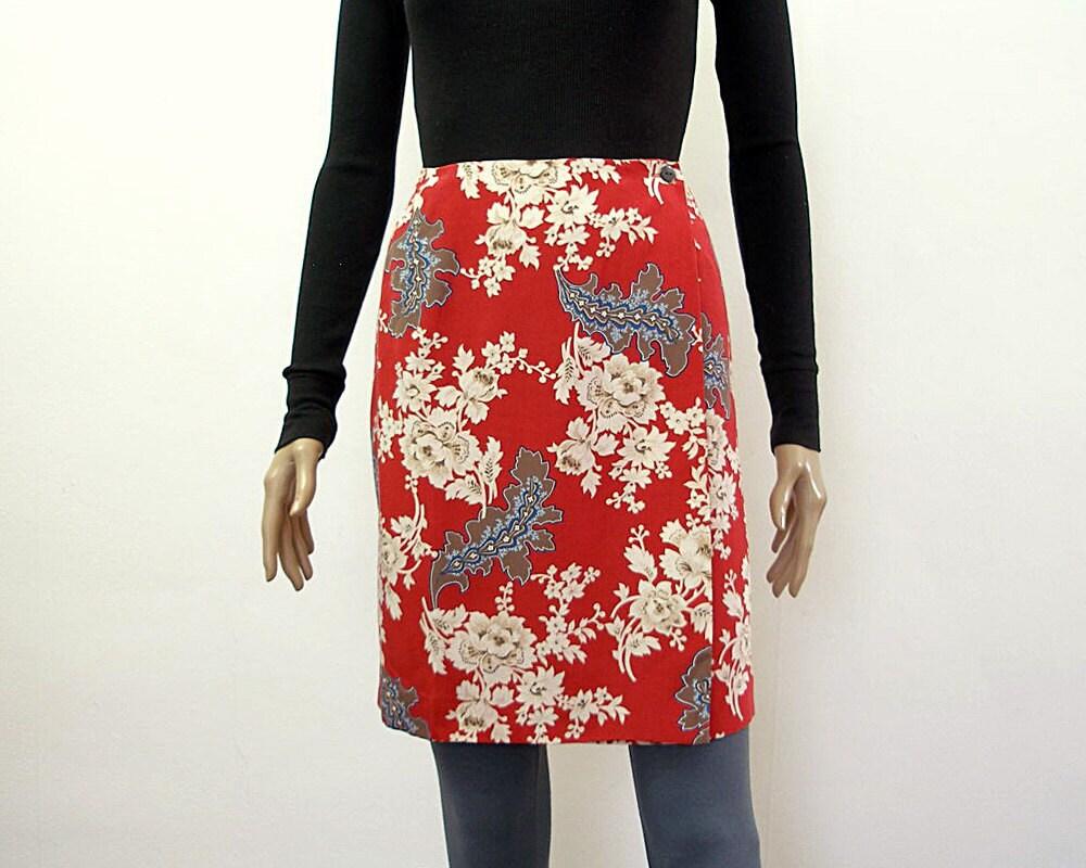 1980s Mini Skirt Vintage Unworn Silk Red Floral Mini Wrap High