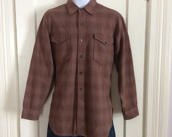 Vintage Pendleton Virgin Wool Shadow Plaid Mens Shirt size 16 Brown