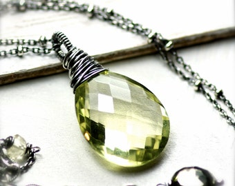 Large Beautiful Wire Wrapped Lemon Quartz Gemstone Necklace in Oxidized Sterling Silver