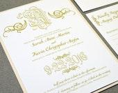 Calligraphy Wedding Invitation Suite - Monogram Wedding Pocket with Bellyband - Cream and Gold Wedding Invite - Swirl Wedding Invitations