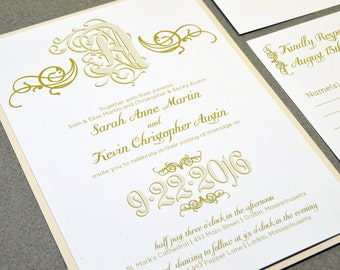 Calligraphy Wedding Invitation Suite   Monogram Wedding Pocket With  Bellyband   Cream And Gold Wedding Invite