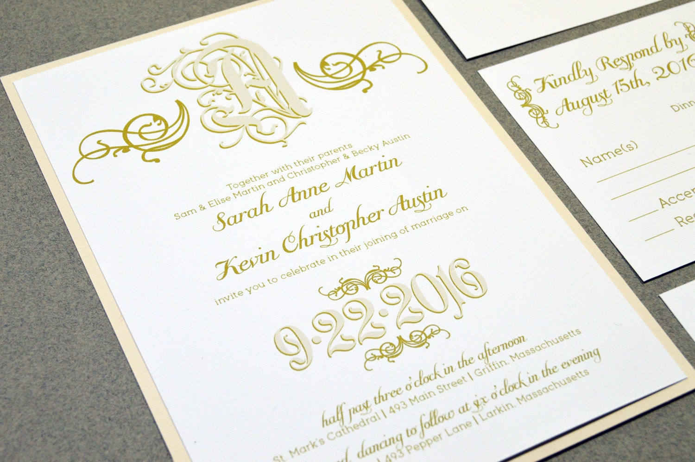 Calligraphy Wedding Invitations: Calligraphy Wedding Invitation Suite Monogram Wedding Pocket
