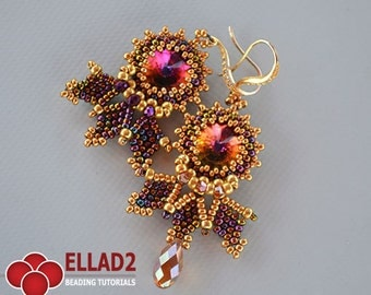 Tutorial Cleo Earrings - Beading Pattern,Instant download, PDF file,Jewelry Tutorials