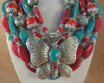 Cowgirl Necklace Set - Chunky Aqua and Red Howlite Turquoise with Handcrafted Butterfly Pendant