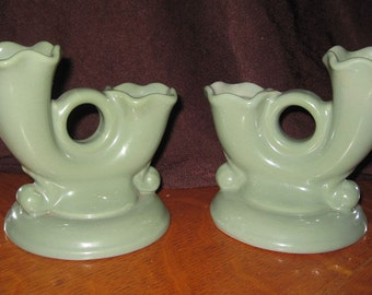 Pair of Vintage Abingdon Pottery Double Candle Holders in Pastel Green #575 - Epsteam
