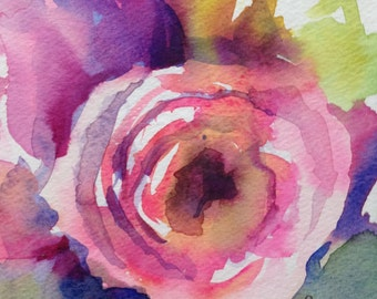 Pink Ranunculus- Floral Original Watercolor painting by SriWatercolors 6 x 6 in