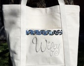 Silver Metallic Wifey Tote Embroidered in Gold Silver Bride Shower Gift Natural Canvas Bag