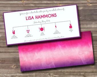 pink & purple ombre timeline bachelorette party printable invitation
