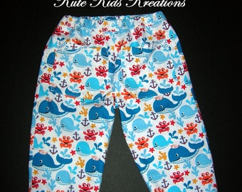 Toddler Boy's Lined Pants, Whales/Sea Creatures/Anchors, Size 2T, Ready to Ship