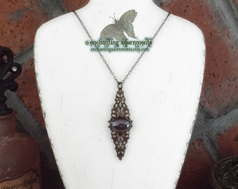 The Seeress - Pythia Aged Filigree Brass Oracle Necklace with Vintage Smoky Glass