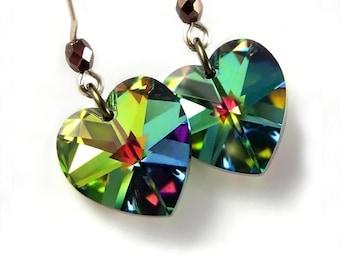 Green Heart Earrings 14k Gold Fill Hooks Swarovski Crystal Heart Earrings Colorful Green Heart Drop Earrings Heart Jewelry Valentines Day