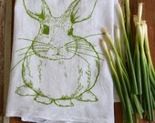 Tea Towel - Screen Printed Flour Sack Towel - Kitchen Towel - Rabbit Towel - Bunny - Handmade Dish Towel - Mothers Day Gift - Easter