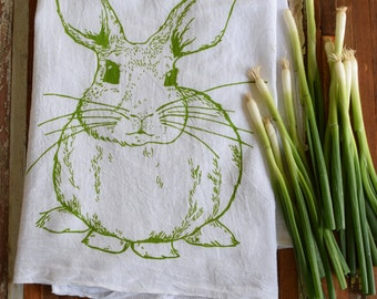 Tea Towel - Screen Printed Flour Sack Towel - Kitchen Towel - Rabbit Towel - Bunny - Handmade Dish Towel - Mothers Day Gift - Easter