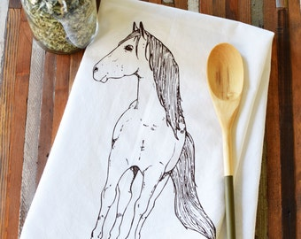 Tea Towel - Screen Printed Flour Sack Towel - Eco Friendly Dish Towel - Handmade - Horse- Pony - Classic Flour Sack - Printed Kitchen Towel