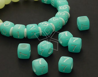 LR-060-BL / 10 Pcs - Numeric Luminous Beads, Phone Number Bead, Anniversary Date, Number Seven, 7, BLUE Square / 7mm