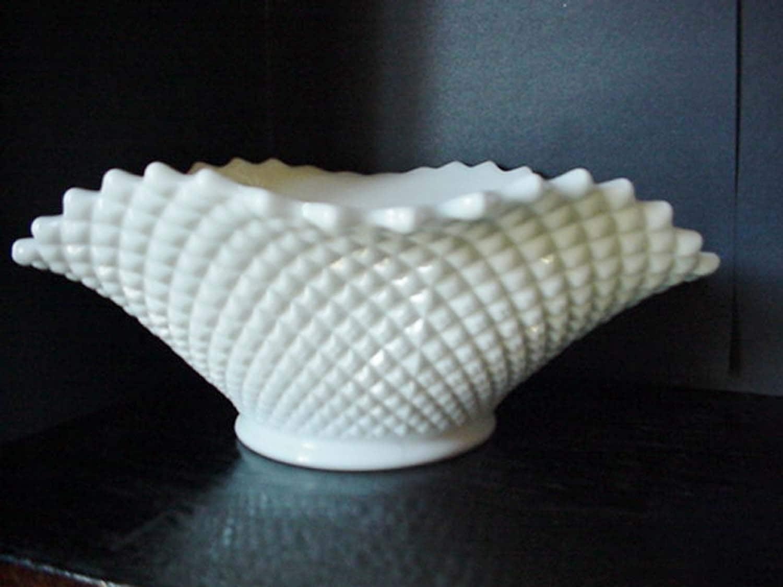White Milk Glass Fruit Bowl Hobnail Fluted Fruit Dish Milk
