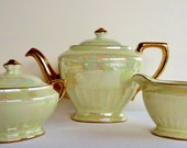 Vintage Hall Luster Ware Tea Set - Creamer - Sugar Bowl - Pearlized Ivory with Gold Accents