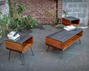Floating Steel Top Coffee Table